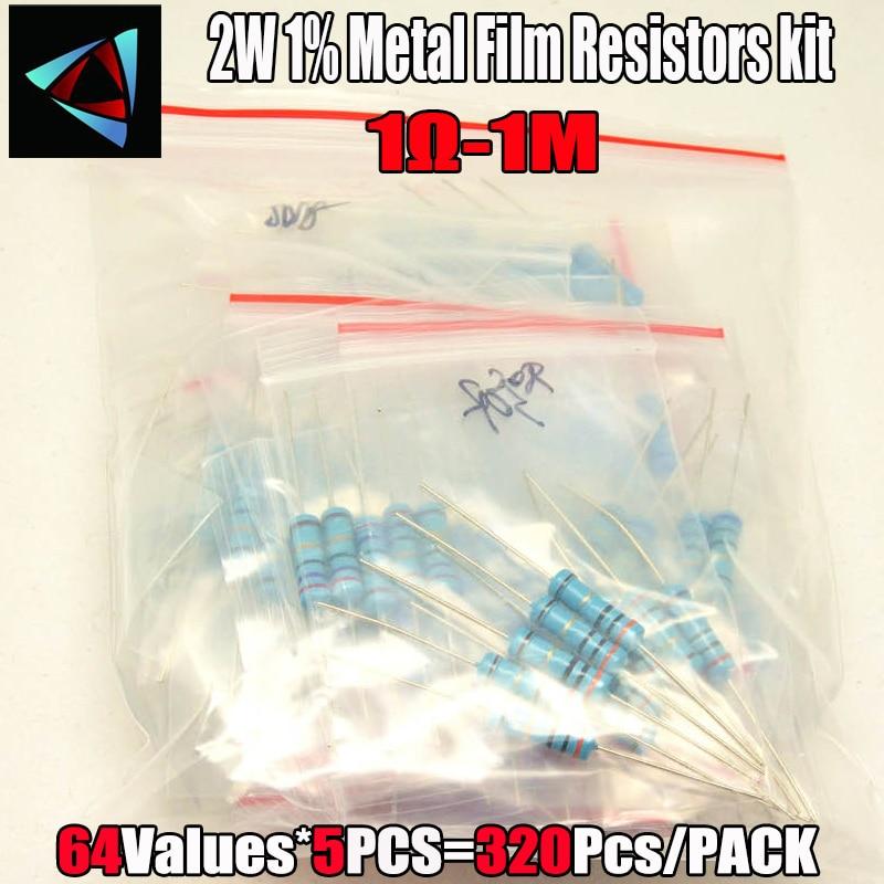 1R-1M Ohm 2W 1% DIP Metal Film Resistor,64valuesX5pcs=320pcs, RESISTOR Assorted Kit