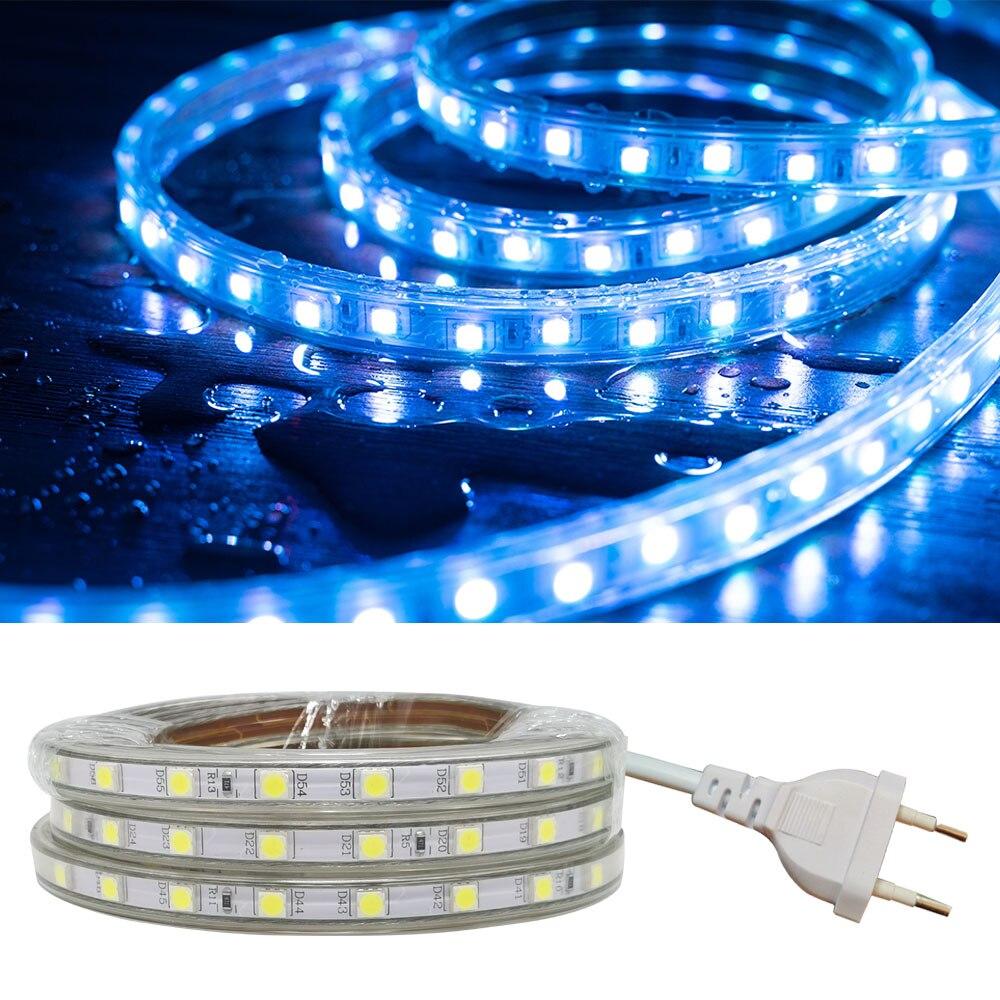 Impermeável smd 5050 led fita ac 220 v flexível led luz de tira 60 leds/metro jardim ao ar livre iluminação com plugue da ue 220 v