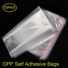 100 Pcs OPP Self Adhesive Seal Plastic Bags Transparent Clear Resealable Cellophane Poly Storage Packaging Dustproof