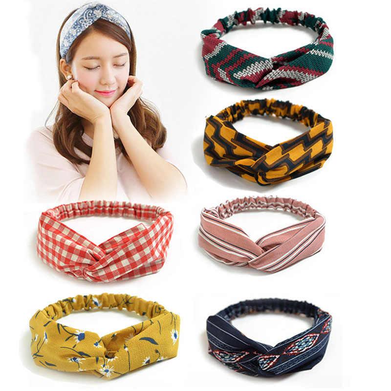 Women Plaid Bohemian Cross Bandana Hair Wrap Head Band Headband Scarf WE