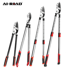 AI-ROAD Telescopic Long Pruning Scissor Hedge Anvil Shears Garden Tool Tree Branch Cutter Agriculture Hand Tool Ratchet Pruner