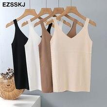Primavera verão sólido com decote em v malha básica tank top feminino cami coreano camisola elástica colete de malha sexy topos feminino camis 2021 s