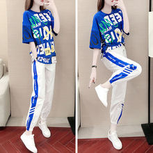 BHDD Summer 2019 New Style Short Sleeve Korean-style Loose Casual Trousers Two-Piece Set Western Style Slimming Fashion Summer