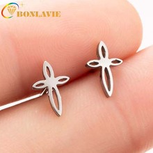 Creative Hollow Chinese Knot Earrings Stainless steel earrings fashion style personality Cross trinkets