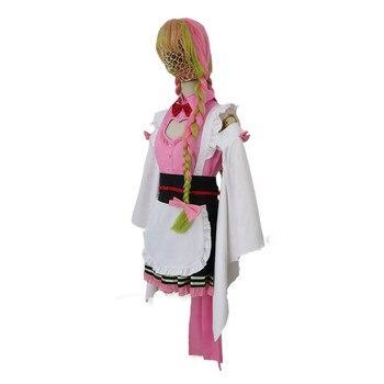 Cosplay de demonio asesino Anime Kimono uniforme Kochou Shinobu Kamado Nezuko Kanroji Mitsuri Kibutsuji Muzan Kimono uniformes de criada