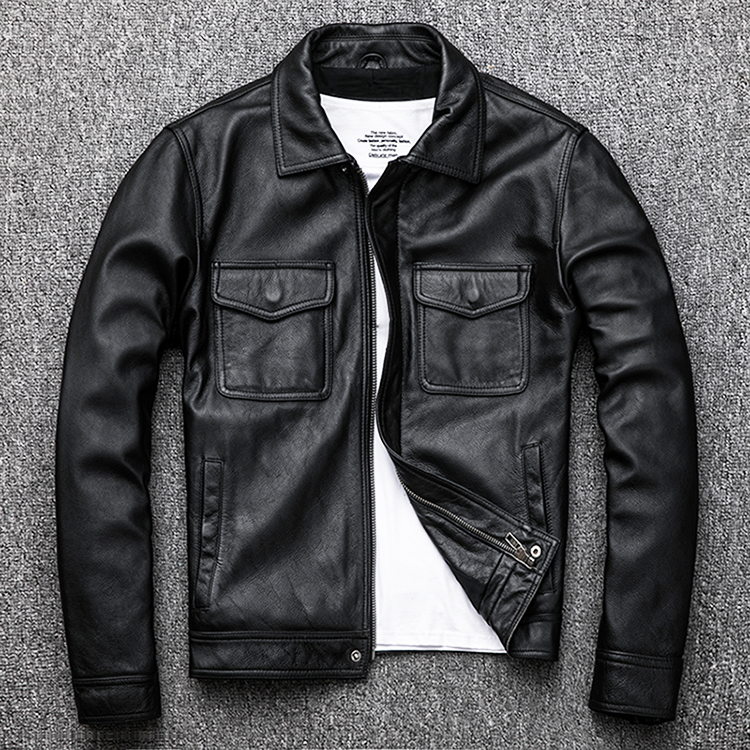 Free Shipping.Genuine Leather Jacket.classic Black Cowhide Jacket.style Pea Coat.fashion Jacket For Man.plus Size Slim Sales