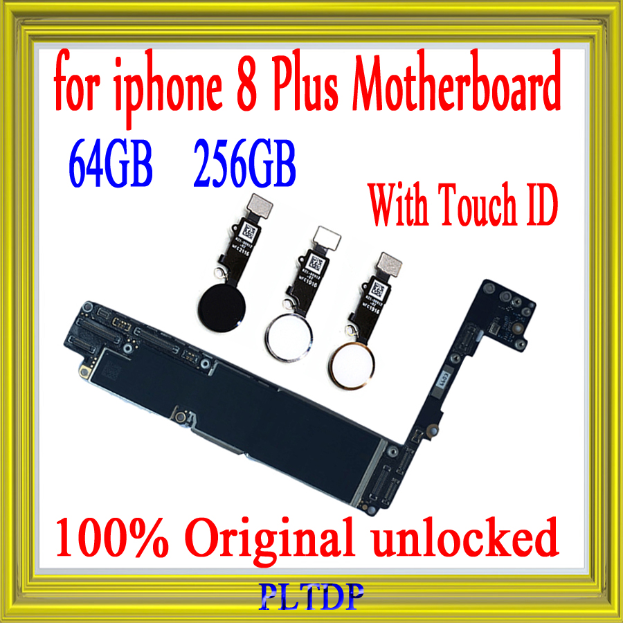 High Quality,  100% Original unlocked for iphone 8 Plus Motherboard With/No Touch ID,  for iphone 8P Logic Board 64GB 256GB