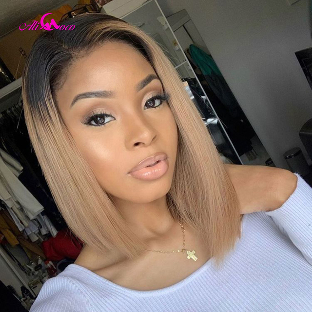 $ US $51.88 Ali Coco 1B 27 Short Bob Wigs Lace Front Human Hair Wigs13x4 #27 Human Hair Wigs Brazilian Remy Ombre Bob Lace Front Wigs