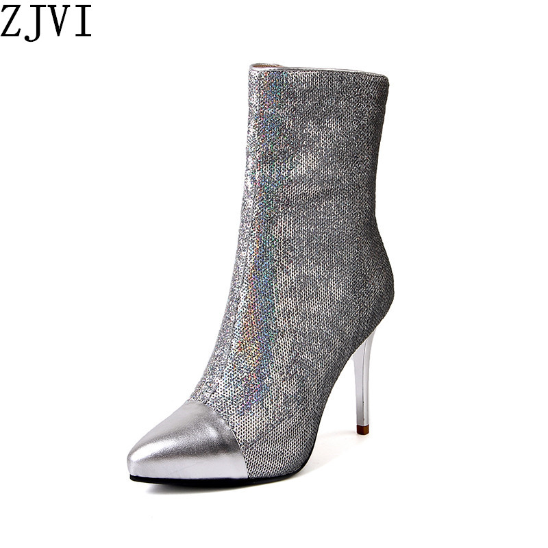 ZJVI 2019 sexy bling woman genuine leather mid calf boots for women winter thin high heels sliver girls ladies pointed toe shoes