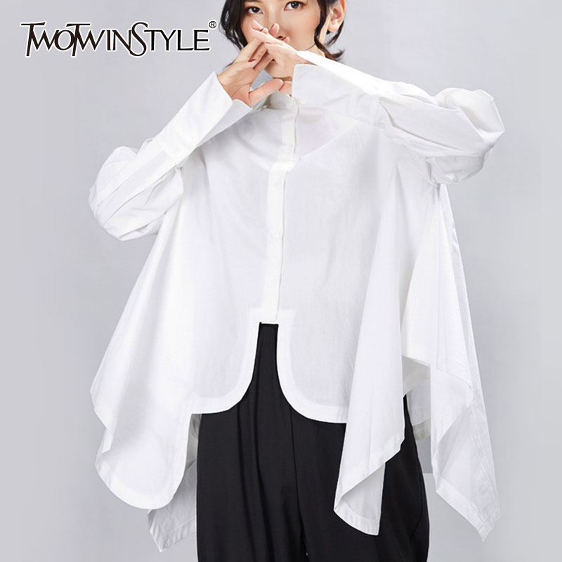 TWOTWINSTYLE Women Pleated Big Size Irregular Blouse New Lapel Long Sleeve Loose Fit Shirt Fashion Tide Spring Autumn 2020