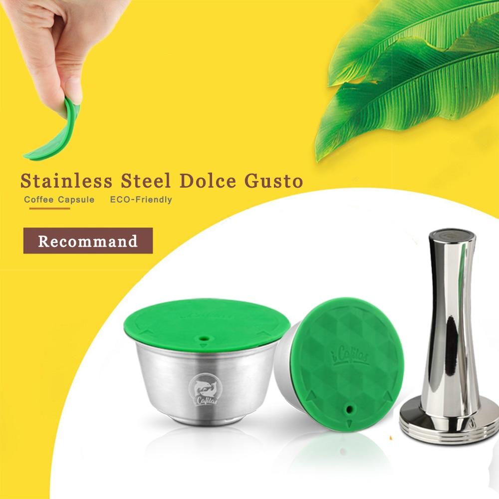 Métal inoxydable Rusable pour Dolce Gusto Capsule ajustement Nescafe avec filtre uesed 200 fois café moulu inviolable cuillère à café|Café Filtres| |  -