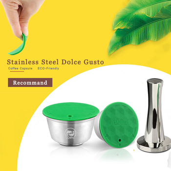 Stainless Metal Rusable For Dolce Gusto Capsule fit Nescafe with Filter uesed 200 time Coffee Ground Tamper Coffee Spoon