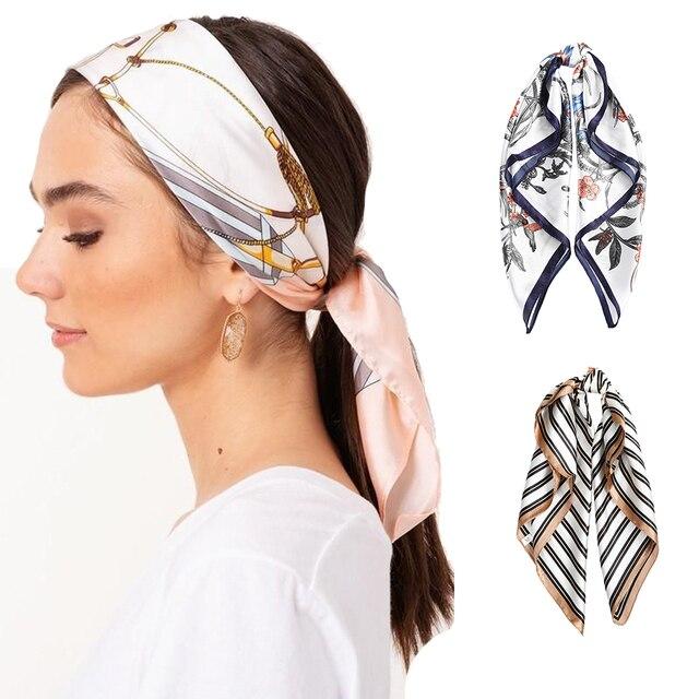 AWAYTR Square Silk scarf 60*60cm Headband hairbands Hair Hoop Accessories For Women Girl Lady Head Neck Satin Scarf Handkerchief 3
