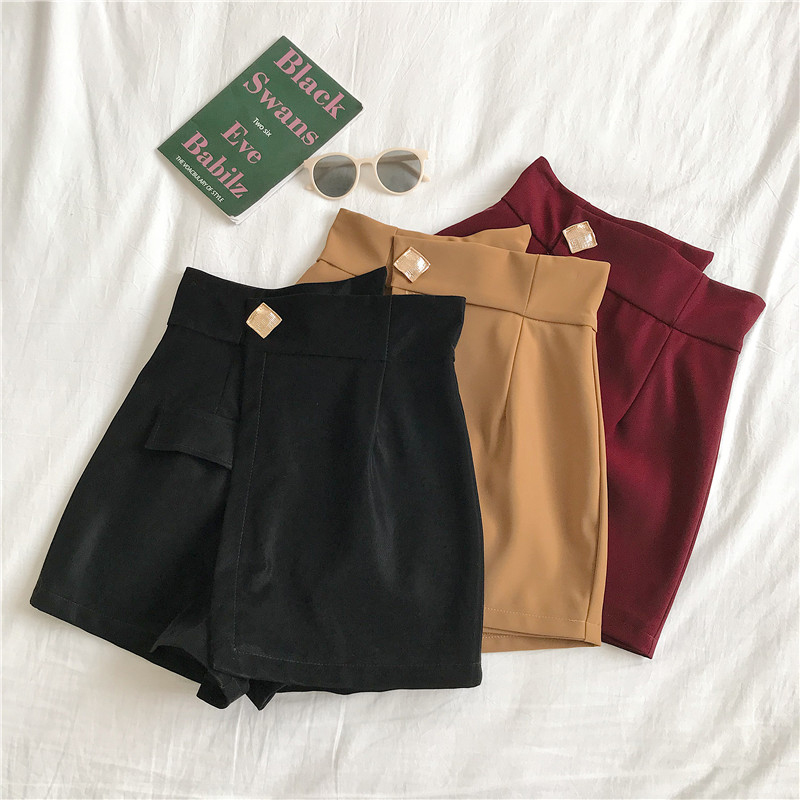 S-XL Skirt Shorts Plus Size High Waist Irregular Wide Leg Shorts Female Solid Pocket Fake Skirts Black Zipper Skirts Shorts