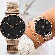 Relojes de Mujer de marca superior de 38mm de moda ultrafinos de acero inoxidable para Mujer regalo