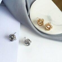European and American design fashion joker minimal hand making knot stud earrings women jewelry