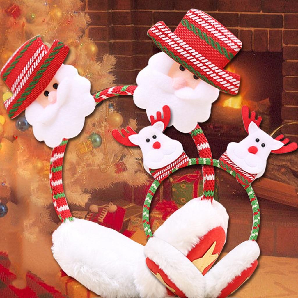 Chrismas 2019Top Christmas Children Winter Warm Plush EarMuffs Cute Ear Santa Claus  Headband