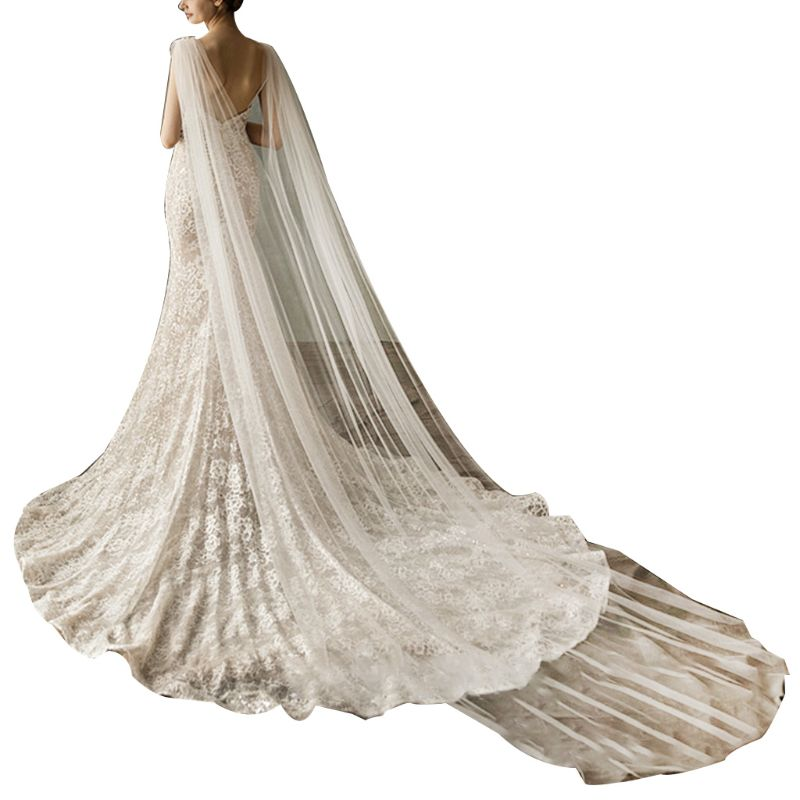 Women Tulle Cathedral Floor Length Wedding Capes Shoulder Imitation Crystal Jewelry Floral Appliques Bridal Long Wraps CloakBridal Veils   -