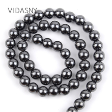 Black Hematite Natural Semi Precious Stone Round Beads For Jewelry Making 4mm-10mm Spacer Beads Diy Bracelet Accessories 15'' недорого