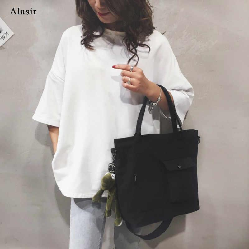 Alasir カジュアルキャンバスバッグエコファッション女性ショルダーバッグ大レディースソリッドハンドバッグブリーフトートバッグビッグメッセンジャーバッグ