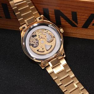 Image 4 - WAKNOER גברים של שעון מכאני חלול חיוג אופנה עיצוב Steampunk יוקרה גברים עמיד למים שלד אוטומטי שעון Relogios