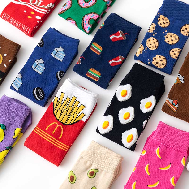 VDOGRIR 1Pair Winter Women Funny Socks Cute Cartoon Fruits Banana Avocado Lemon Egg Cookie Japanese Harajuku Skateboard Socks