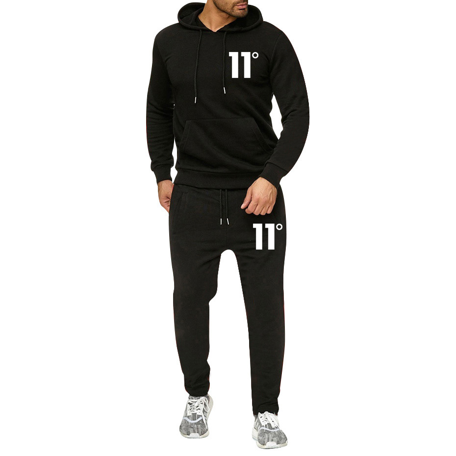 2020 Wholesale New Brand Print 11 Sportswear Tracksuit Sets Men Thermal Underwear Fleece Thick Hoodies+Pants Sporting Suit
