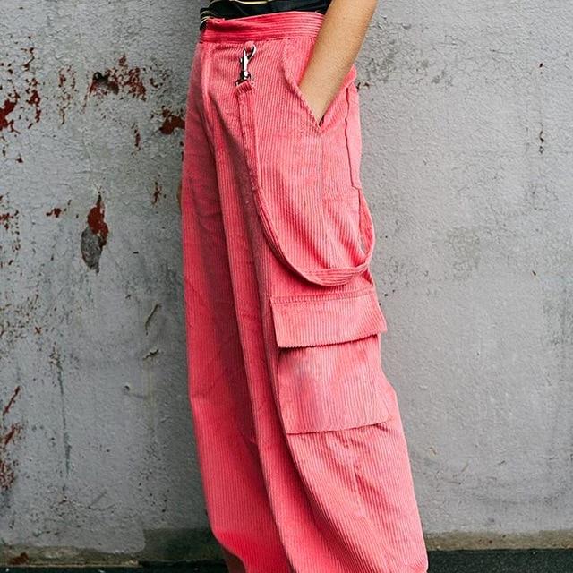 Vintage couleur bonbon velours côtelé pantalon droit poche ample sangle femme pantalon