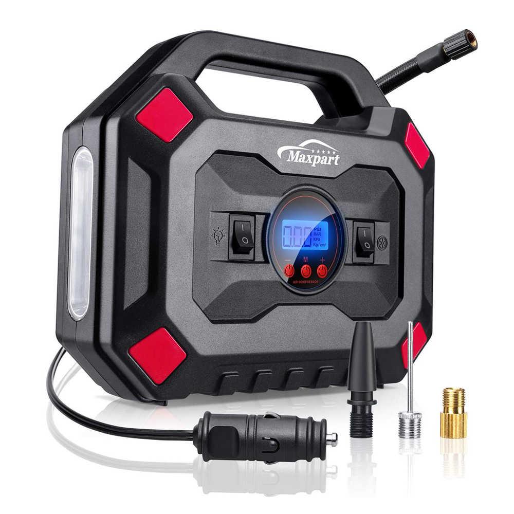 Gonfiatore pneumatico per auto Pompa per pneumatici digitale Spegnimento automatico per pallina per auto Compressore daria portatile 12V con luce demergenza