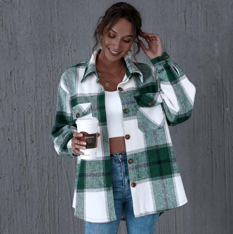 2020 Autumn Casual plaid shirt women coats Buttons pockets female jackets coat Streetwear ladies spring Loose coats outerwear