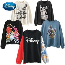 Disney Sweatshirt Chic Fashion Minnie Mickey Mouse Donald Duck Bambi Cartoon Brief Print Unisex Vrouwen Hoodie Lange Mouw Tops(China)