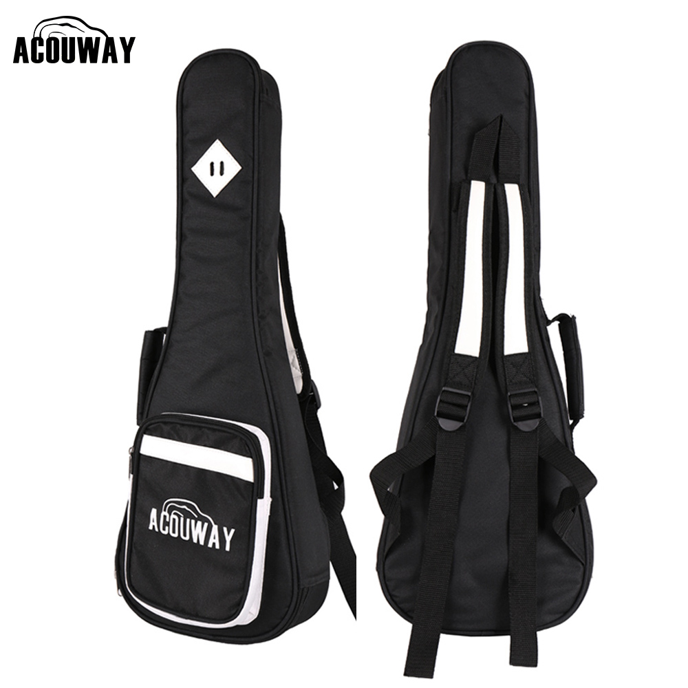 Acouway concert 24 inch Ukulele Bag case cover 10 mm Padding with both should straps and carry handle PU leather decor