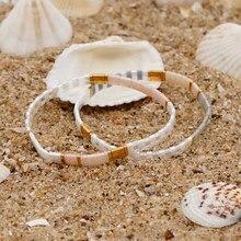 Go2boho miyuki pulseira para mulheres melhor presente japonês tila contas pulseiras jóias boho verão praia pulsera vidro grânulo jóias