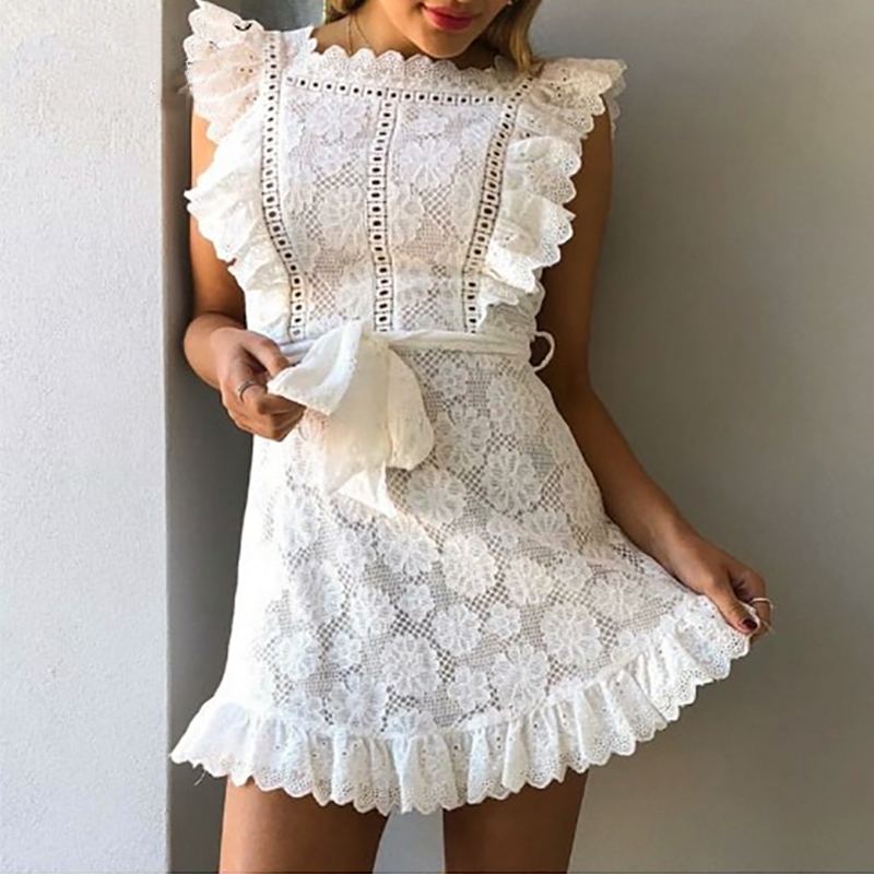 Elegant Embroidery Lace Women <font><b>Dress</b></font> Hollow Out <font><b>Sashes</b></font> Ruffle White <font><b>Dress</b></font> Slim <font><b>Sexy</b></font> Party <font><b>Lady</b></font> <font><b>Dress</b></font> Vestidos Summer Sundress image