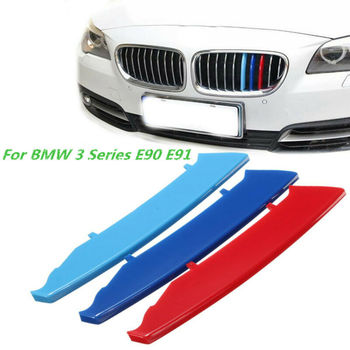 For 3 Color M-Sport Kidney Grille Cover Stripe Clip Decal For BMW 3 Series E90 E91 with 13cm Three - color mesh bar image