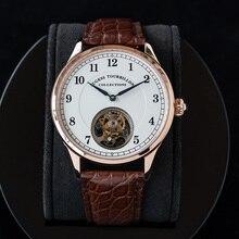 Tourbillon relógio de luxo masculino st8000 mão vento movimento mão vento jacaré couro safira masculino relógios mecânicos montre homme