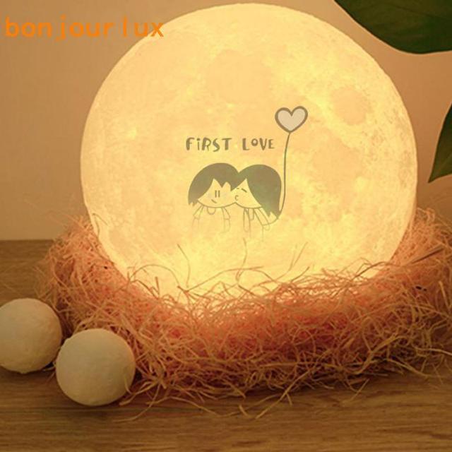 3D مصباح قمري طباعة قابلة للشحن ليلة ضوء 3 اللون التحكم مصباح أضواء 16 الألوان للتغيير عن LED القمر ضوء هدية 5v 1A