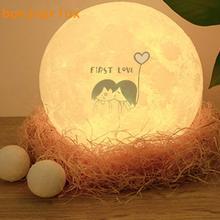 Lámpara de Luna 3D con luz nocturna recargable, lámpara de Control de 3 colores con 16 colores, luz LED de luna con Control remoto cambiable, regalo, 5v, 1A