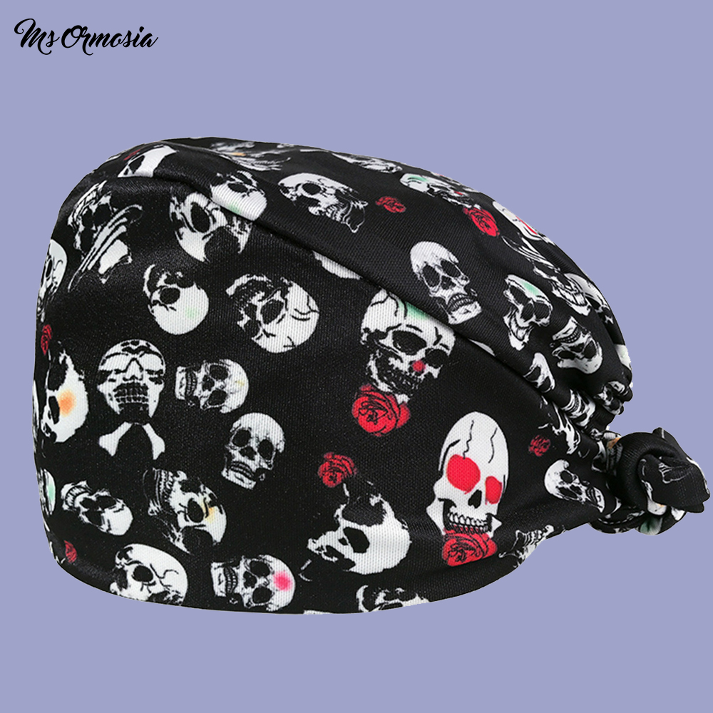 Quality Black Printing Men And Women 100% Cotton Doctor Care Cap Pet Hospital Dental Nurse Cap Surgical Cap Elastic Band Cap New