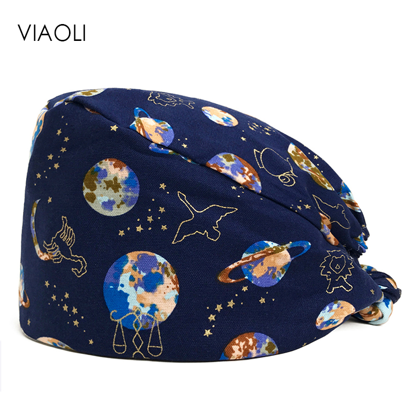 Viaoli Hot Pink Lovely Tooth Baby Printed Surgical Hat Stomatological Hospital Dentist Nurse Work Hat Adjustable Lace Elastic