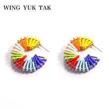 wing yuk tak Bohemia ZA Colourful Bead Hoop Earrings For Women Statement Jewelry Christmas Party Gifts