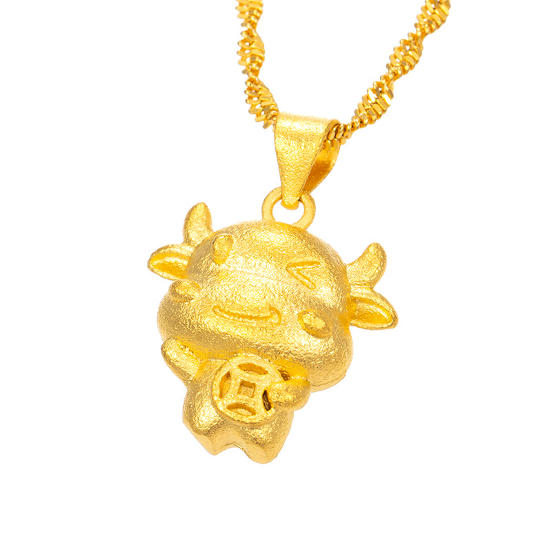24K Gold Necklace Pendants for Women or Men Classic Zodiac Animal Pendant Fine Jewelry Charms for Birthday Gifts (Without Chain)