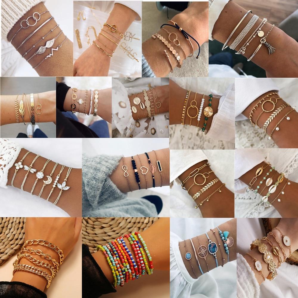 Fashion Bracelet with Simple Geometric Bracelet Bracelet Set Cool Multi-Layer Shell Bracelet Chain Bracelet Set for Women