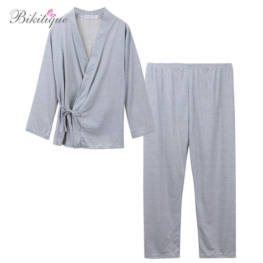 2019 New Cotton Winter Men Sleepwear LIttle Dots Japan Kimono Tied Tops + Long Pants Homewear Men Pajamas