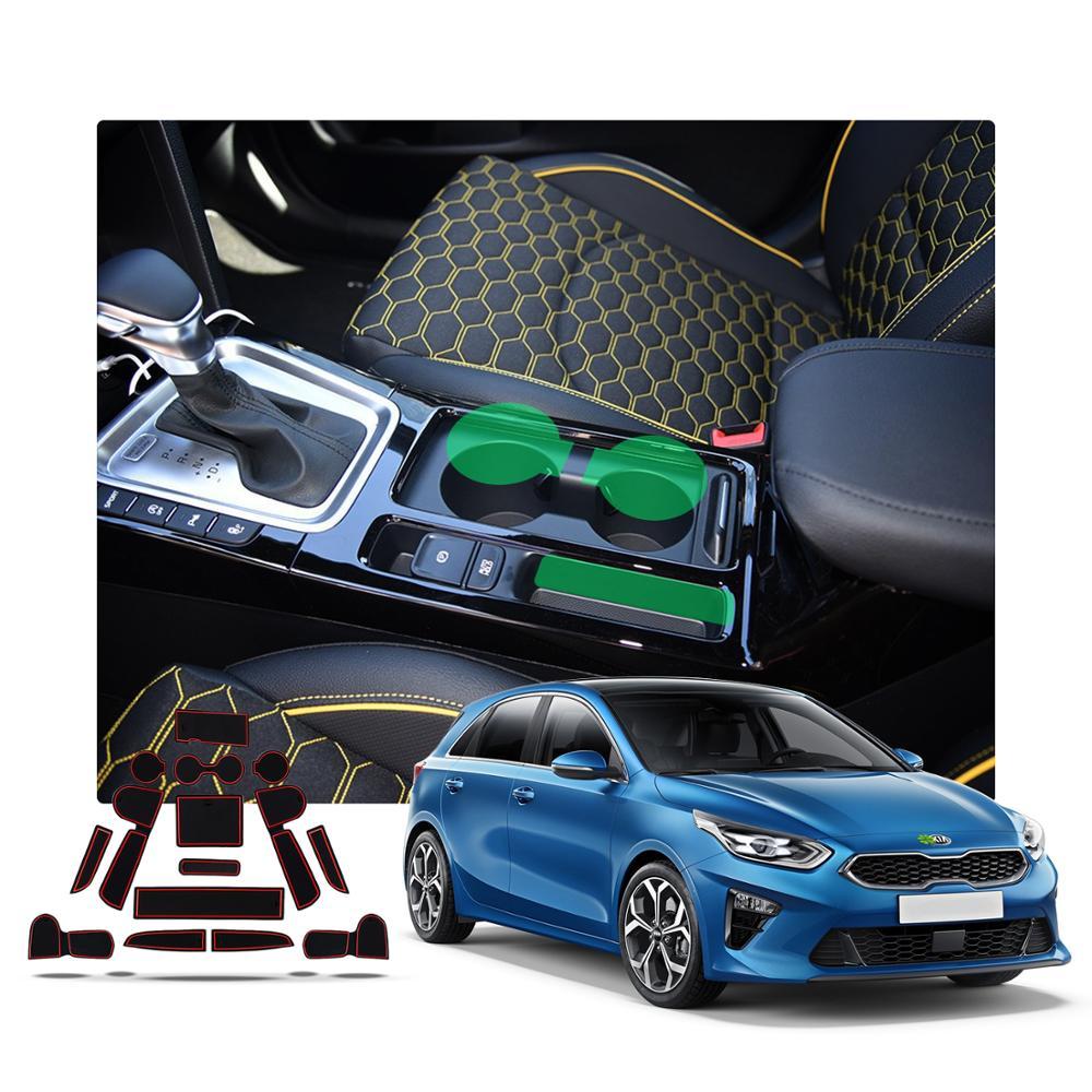 LFOTPP Rubber Mats Cup Arm Box Interior Door Slot for Niro Rubber Non-Slip Mats Non-Slip Mats 14 Pieces