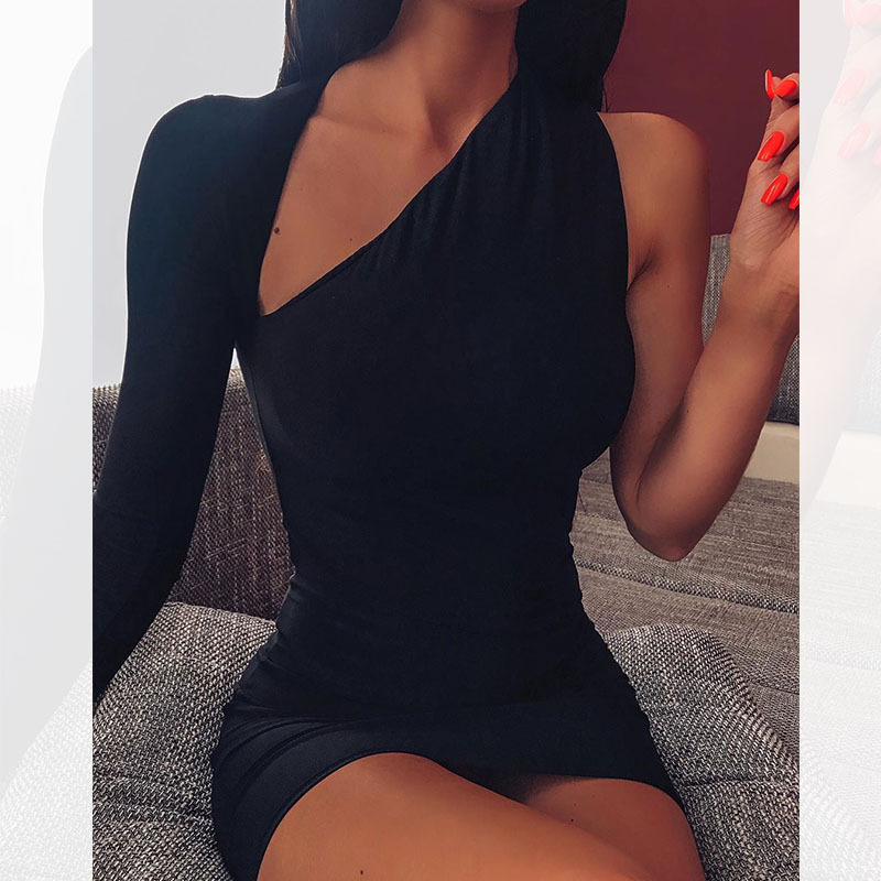 2019 Black Solid One Shoulder Long Sleeve Sexy Women Dress Backless Party Night Out Lady Clubwear Bodycon Dresses
