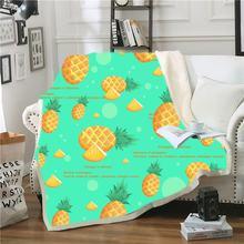 Мультфильм шерпа одеяло ананас пледы для спальни диван мягкое