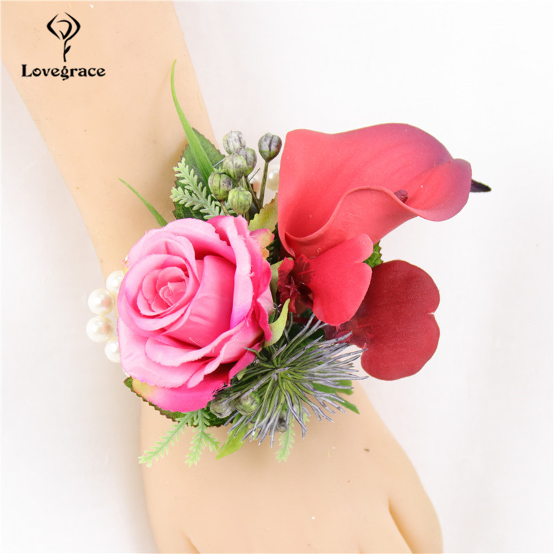 Lovegrace Artificial Rose Calla Lily Boutonniere Bride Wrist Corsage Groom Boutonnieres Bridesmaid White Bracelet Wedding Flower