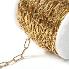 Corrente de aço inoxidável de 1 metro de cor dourada 7mm Correntes de cabos Big Rolo para pulseira Neckalce Suprimentos para fabricação de joias Faça você mesmo