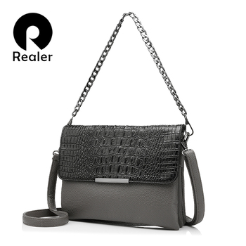 цены REALER  messenger bags women artificial leather handbag clutches with crocodile pattern  chain  fashion ladies shoulder bag